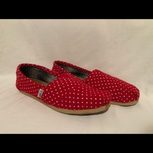 Toms Womens Size 7  Flats Red White Polka Dot